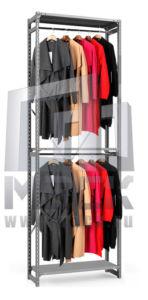 Стеллаж ТСУ для Одежды 3000x1060x500 мм, 3 полки, 2 штанги