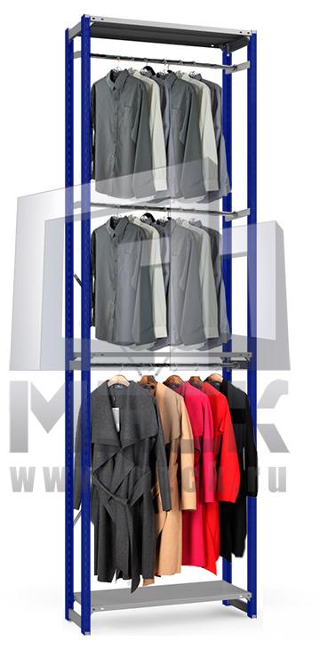 Металлический стеллаж ТСУ для Одежды 3500x1060x500.3п+3ш